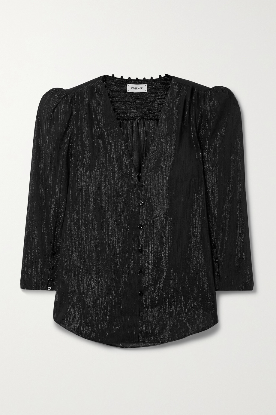 L'AGENCE Kimberly metallic crepon blouse