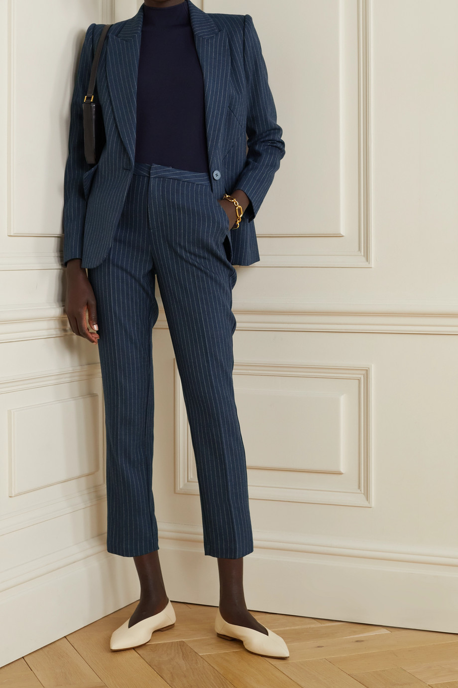 L'AGENCE Sawyer cropped pinstriped herringbone woven slim-leg pants
