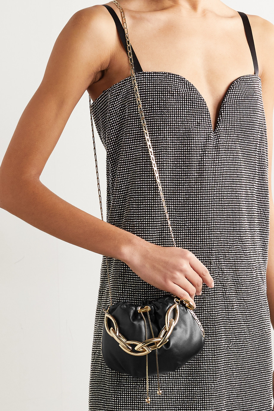 ROSANTICA Bubble small chain-embellished leather tote