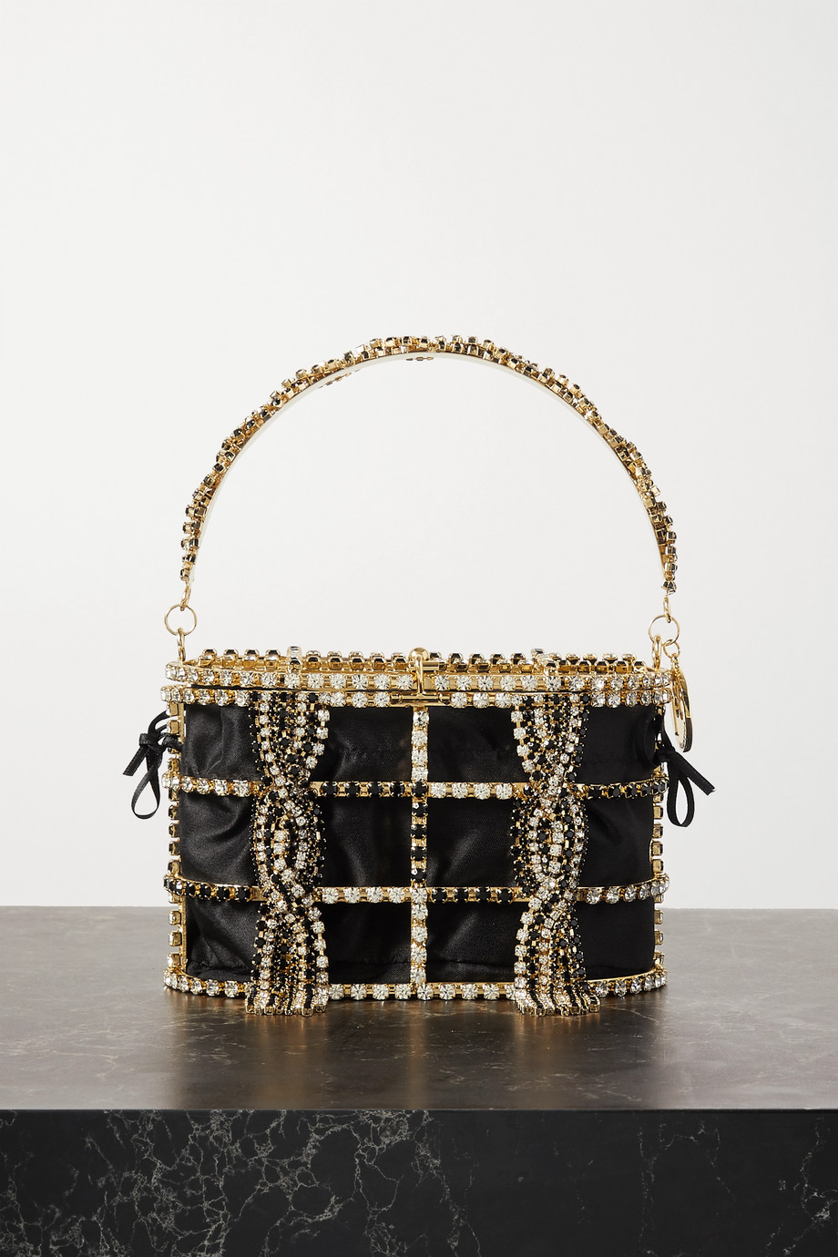 ROSANTICA Tasseled crystal-embellished gold-tone and crepe de chine tote