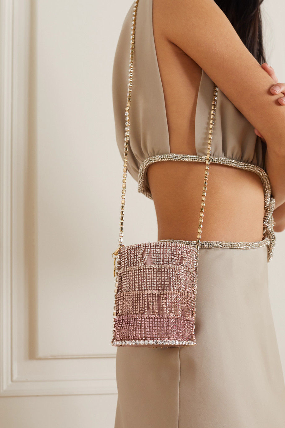 ROSANTICA Crystal-embellished gold-tone and twill shoulder bag