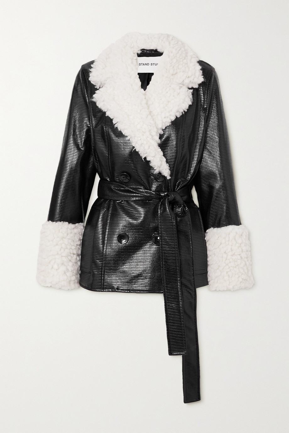 STAND STUDIO Harmony belted faux shearling-trimmed faux textured patent-leather coat