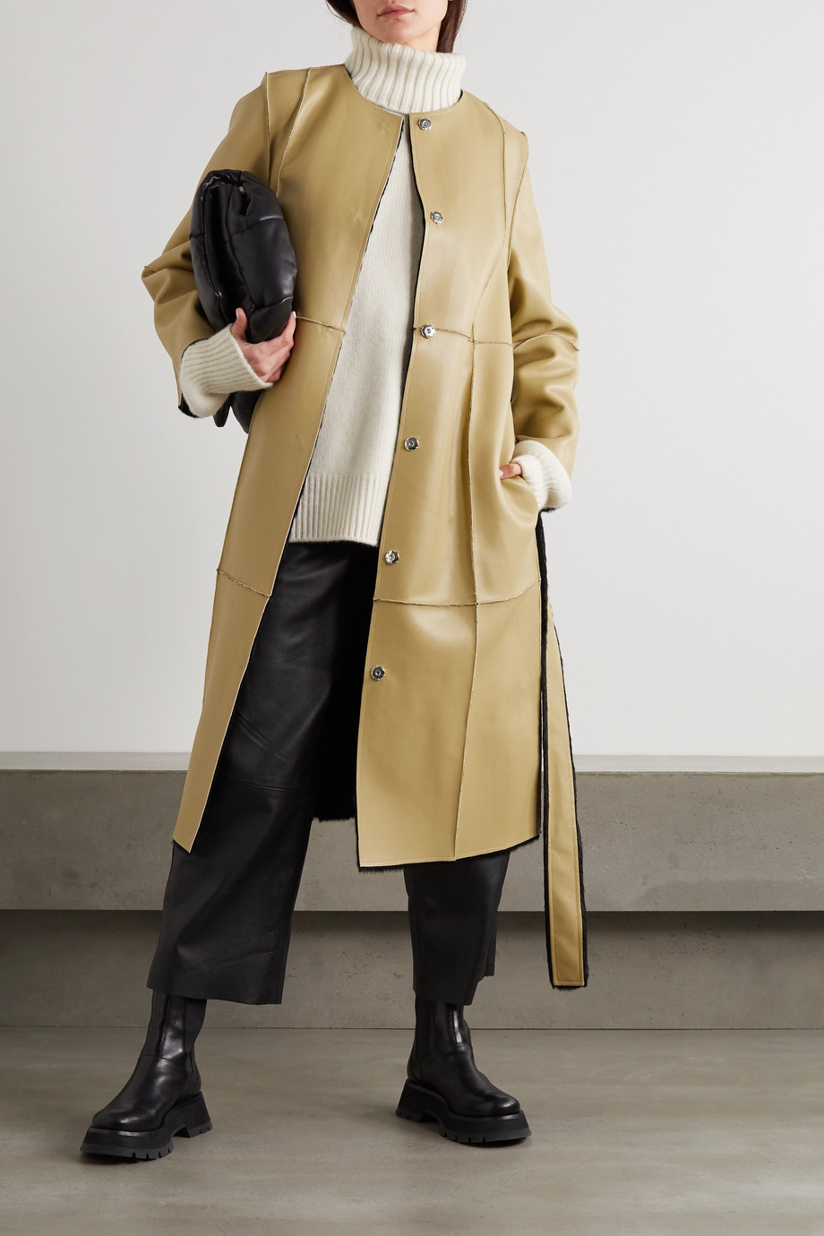 STAND STUDIO Jamie reversible belted faux leather and faux shearling coat