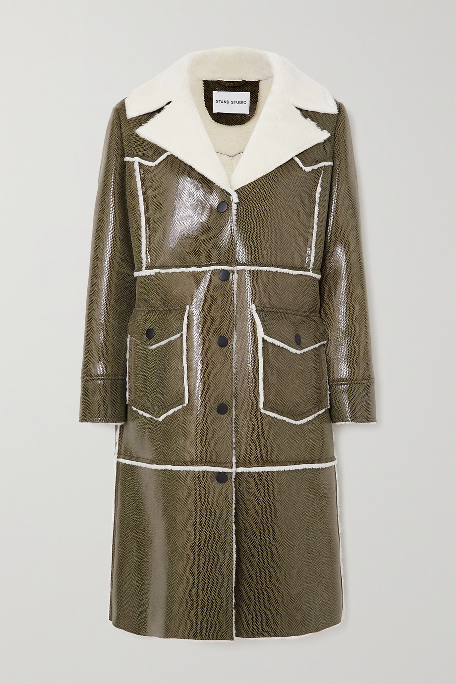 STAND STUDIO Adele faux shearling-trimmed snake-effect faux patent-leather coat