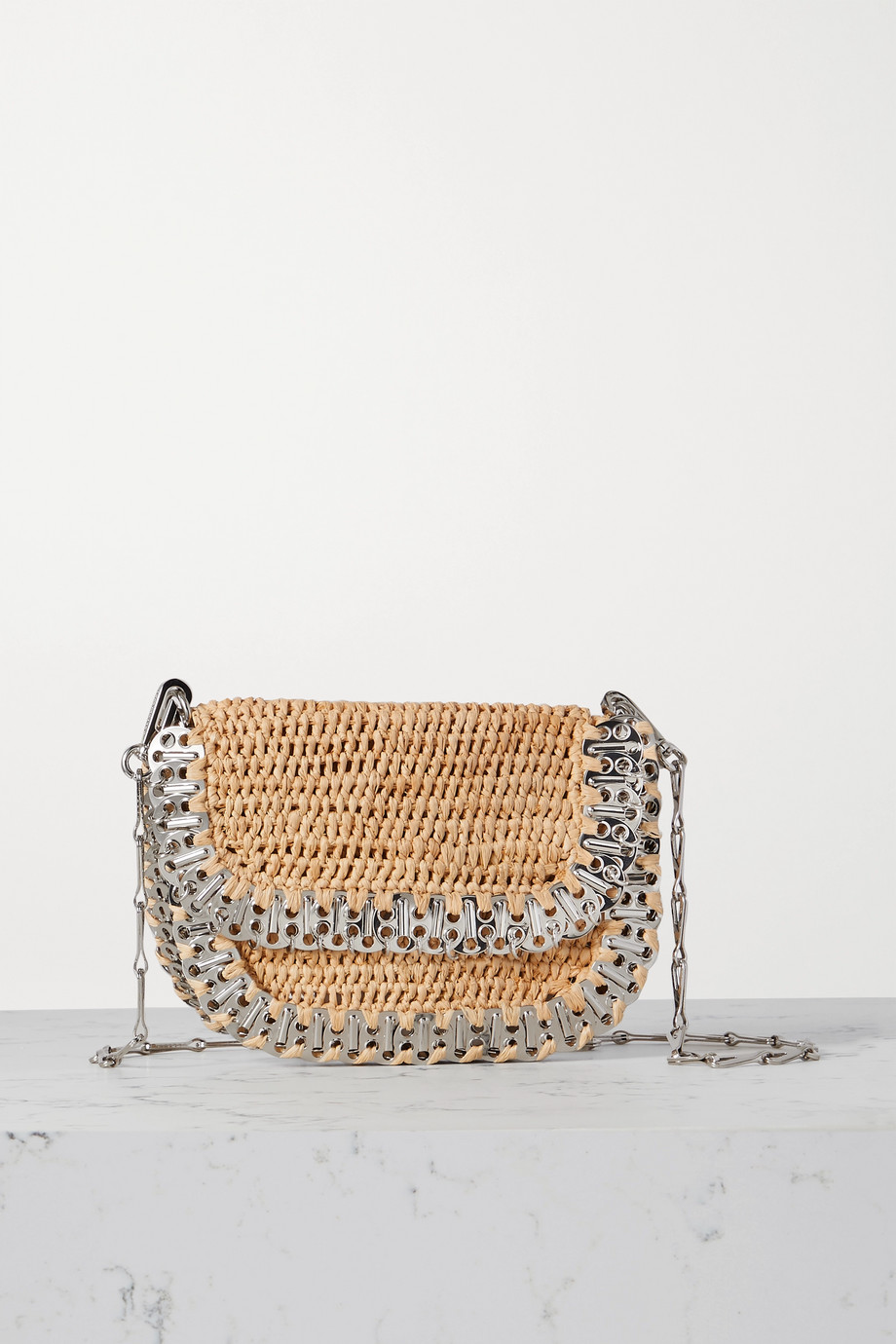 PACO RABANNE 1969 Messenger raffia and chainmail shoulder bag