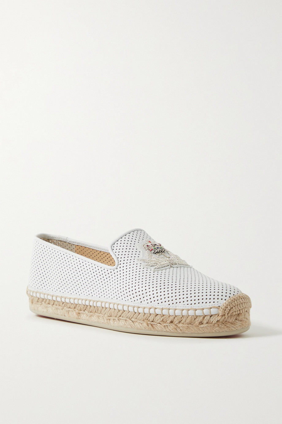 CHRISTIAN LOUBOUTIN Nanou Orlato logo-embroidered perforated leather espadrilles