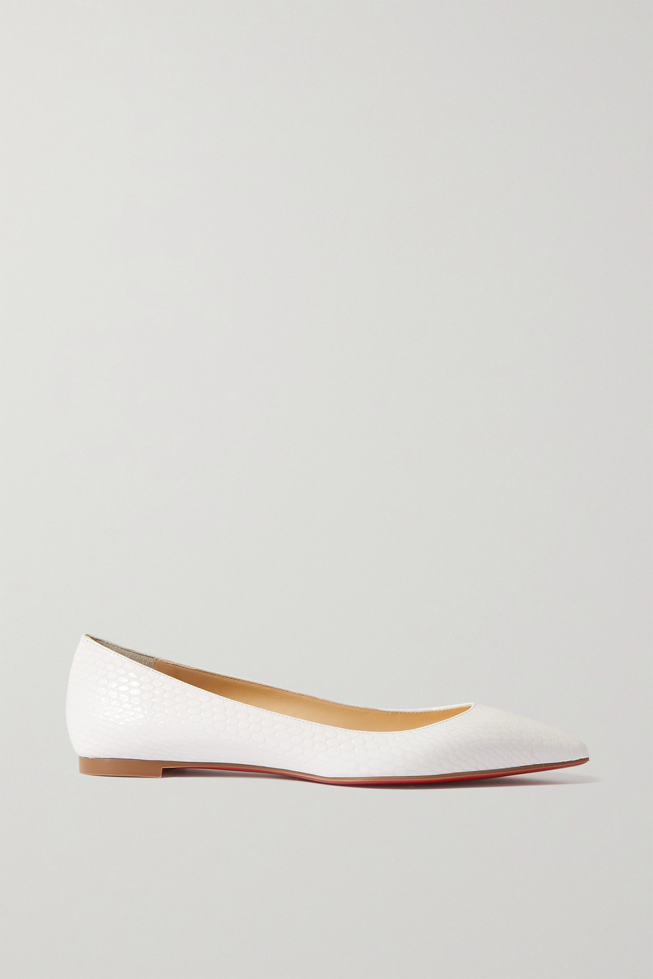 CHRISTIAN LOUBOUTIN Ballalla lizard-effect leather point-toe flats