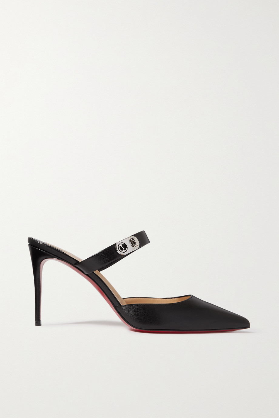 CHRISTIAN LOUBOUTIN Choc Lock 85 embellished leather mules