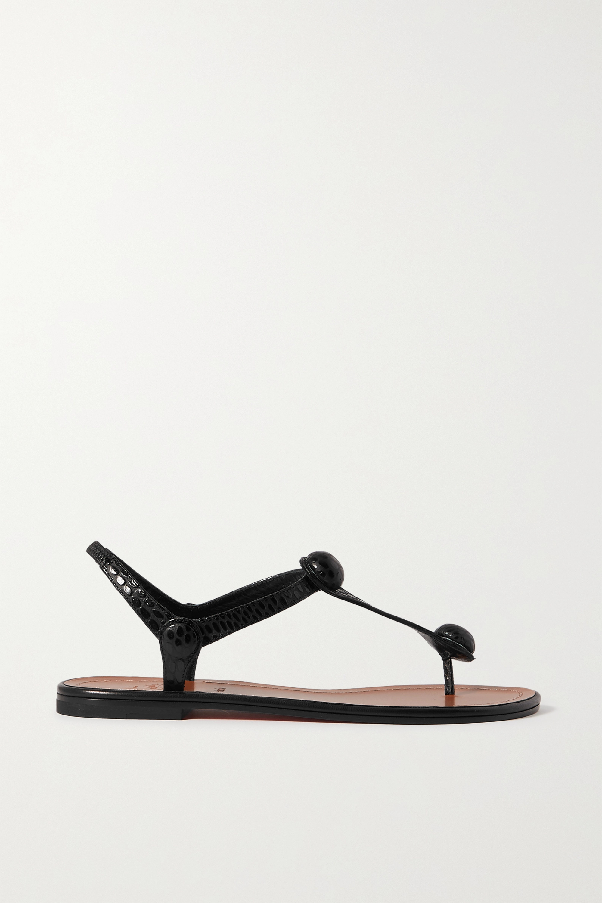 CHRISTIAN LOUBOUTIN Embellished croc-effect leather sandals