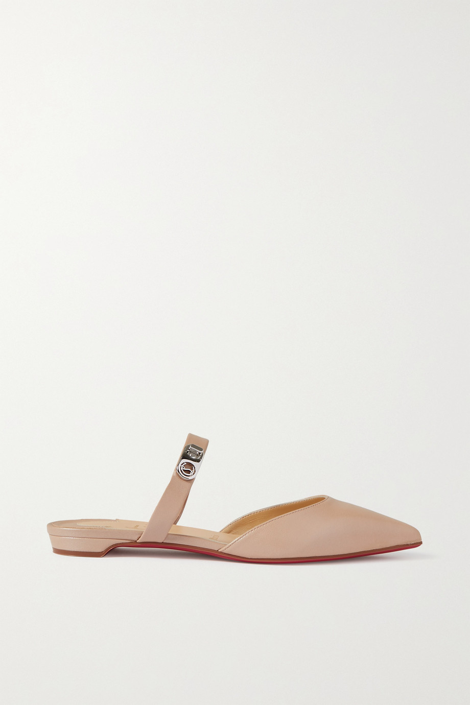 CHRISTIAN LOUBOUTIN Choc Lock leather point-toe flats