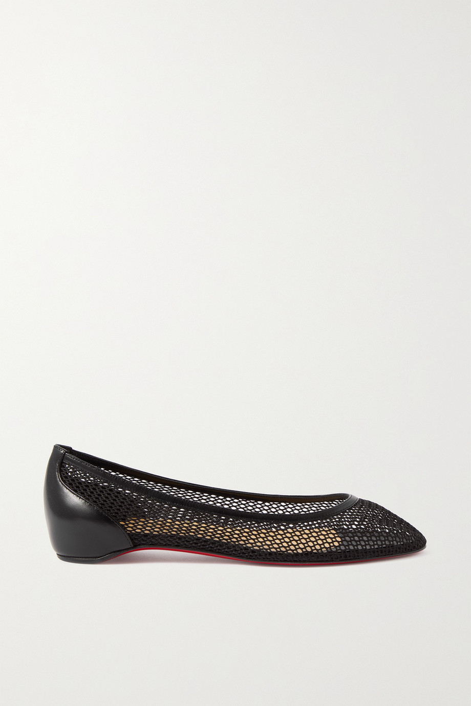 CHRISTIAN LOUBOUTIN Filomena mesh and leather point-toe flats