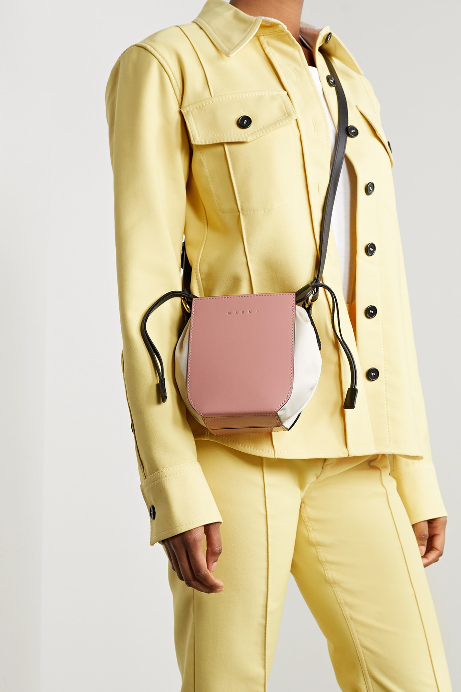 MARNI Gusset mini patent-leather and shell shoulder bag