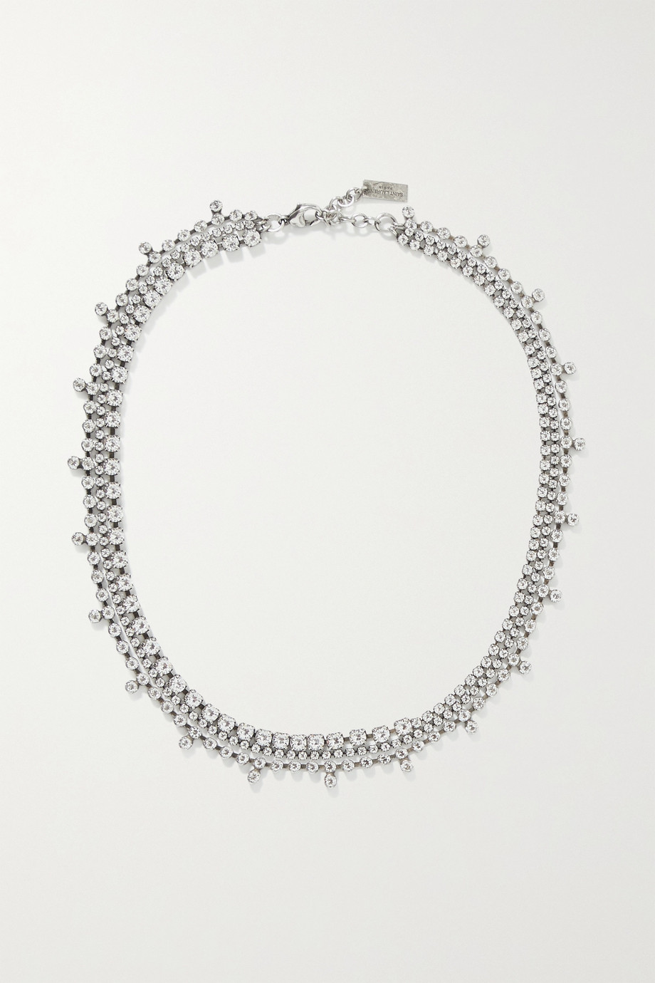 SAINT LAURENT Collier silver-tone crystal choker