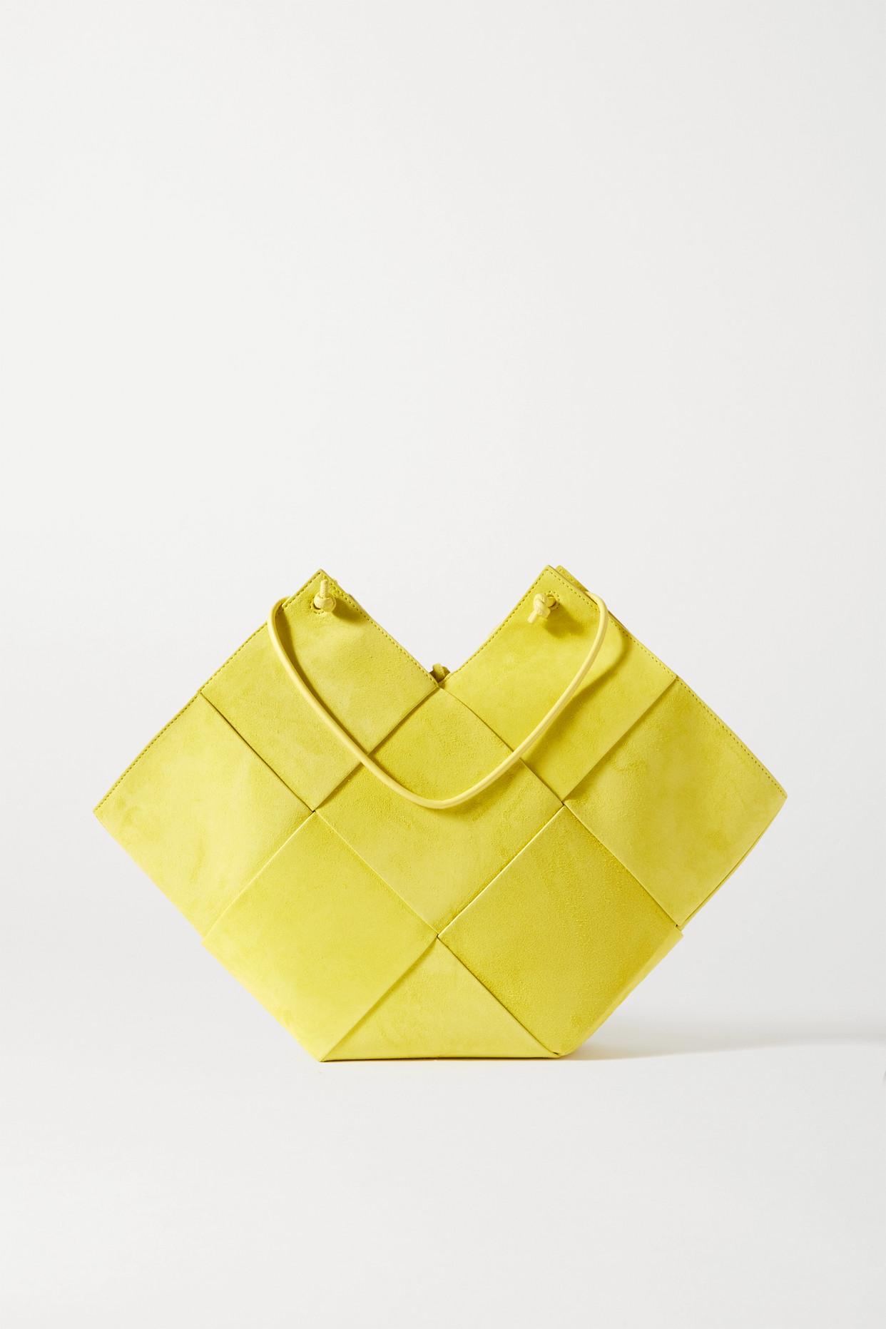 BOTTEGA VENETA - Flower Basket Intrecciato 绒面革皮革中号手提包 - 黄色 - one size
