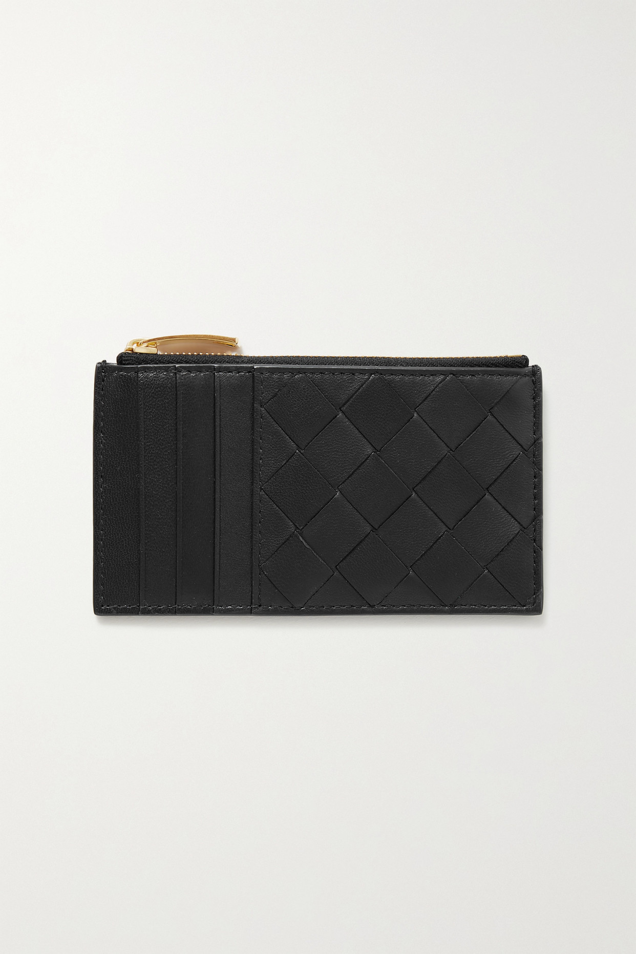 BOTTEGA VENETA - Intrecciato 皮革卡包 - 黑色 - one size