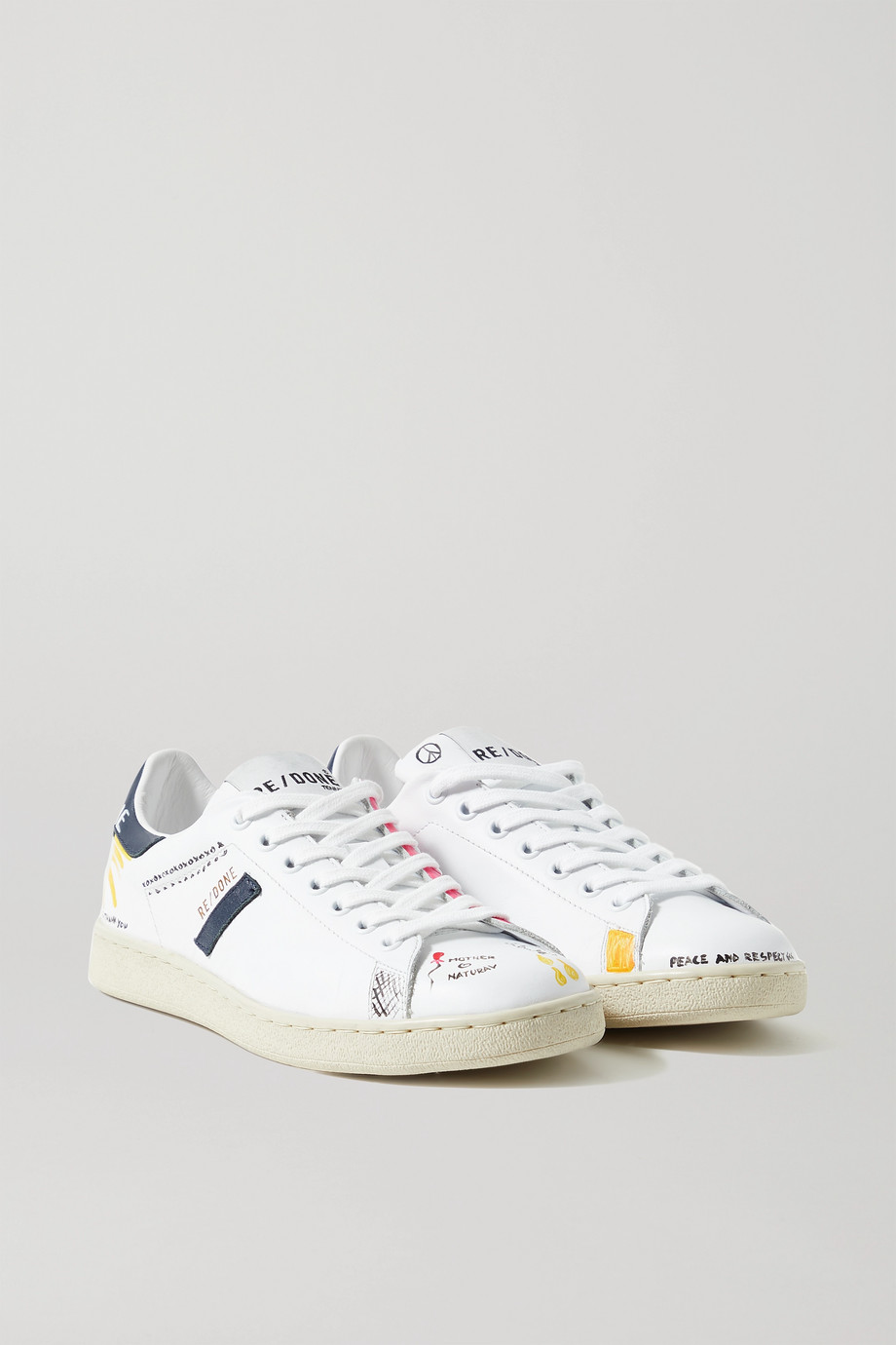 RE/DONE 70s Tennis printed leather sneakers