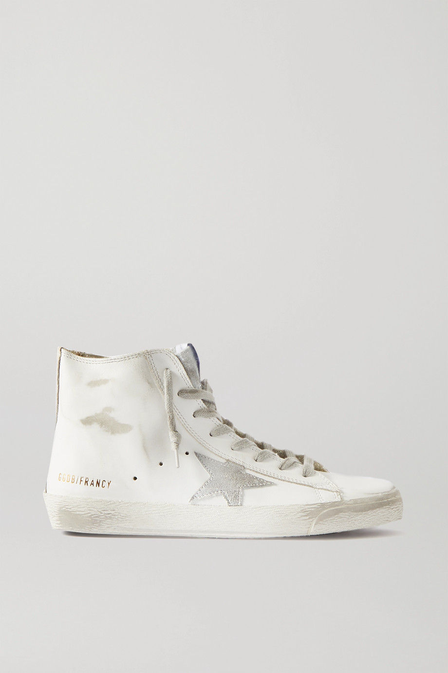 GOLDEN GOOSE Francy glittered distressed leather and suede high-top sneakers