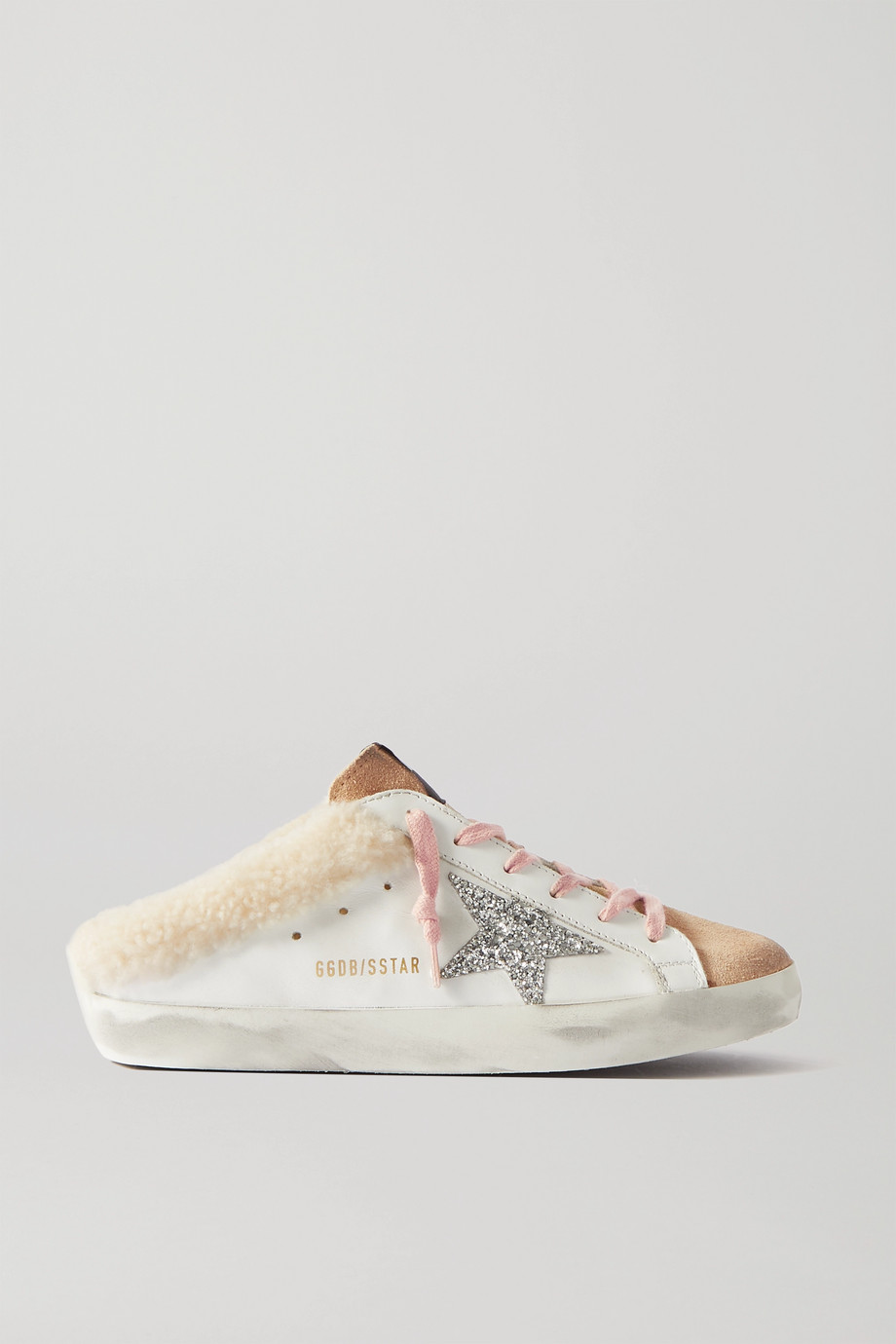 GOLDEN GOOSE Sabot glittered distressed leather, suede and shearling slip-on sneakers
