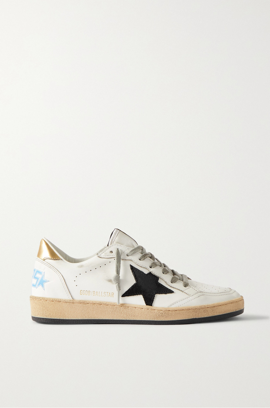GOLDEN GOOSE Ball Star distressed suede-trimmed leather sneakers