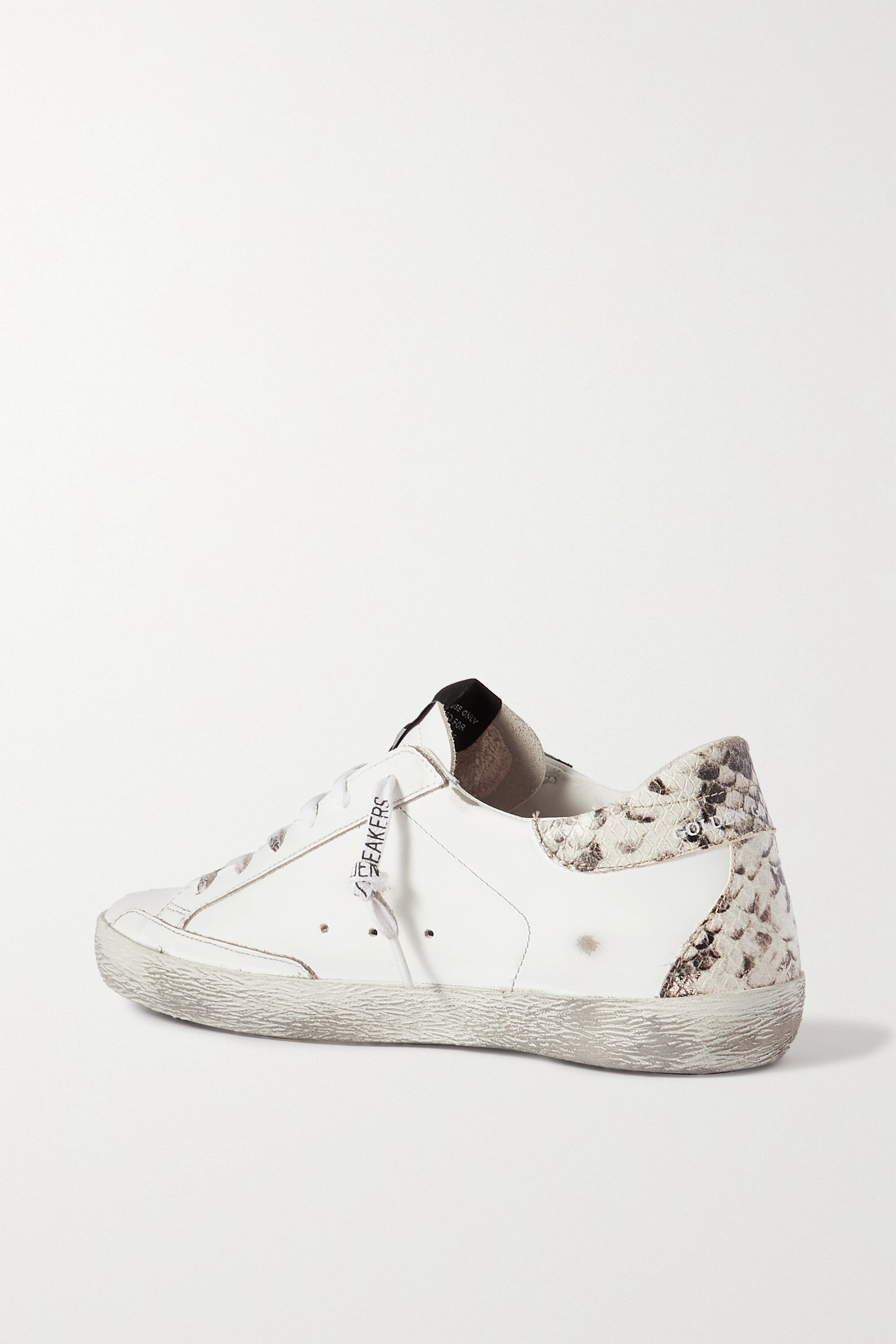 GOLDEN GOOSE Superstar distressed glittered and python-effect leather sneakers