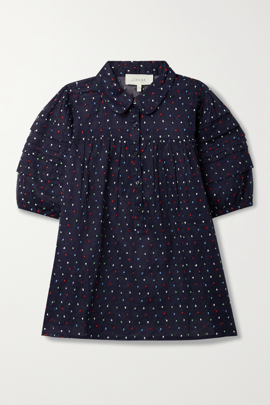 THE GREAT. The Mare embroidered Swiss-dot cotton-gauze blouse