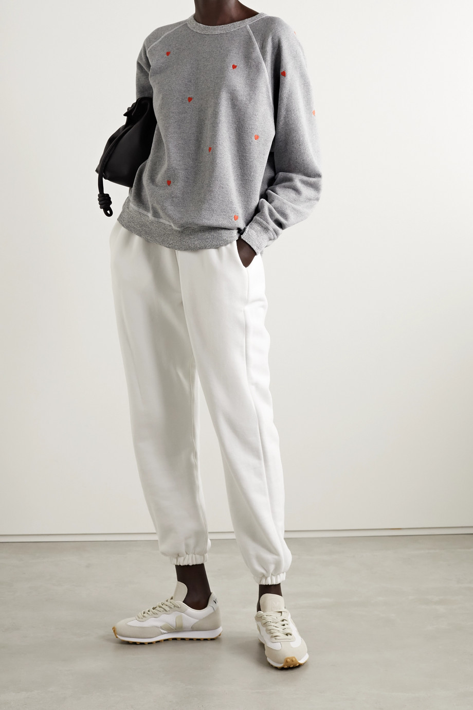 THE GREAT. The College embroidered cotton-blend terry sweatshirt