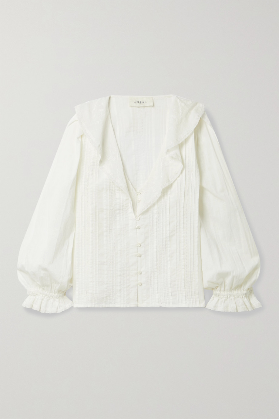 THE GREAT. The Hankie lace-trimmed pintucked cotton-voile blouse