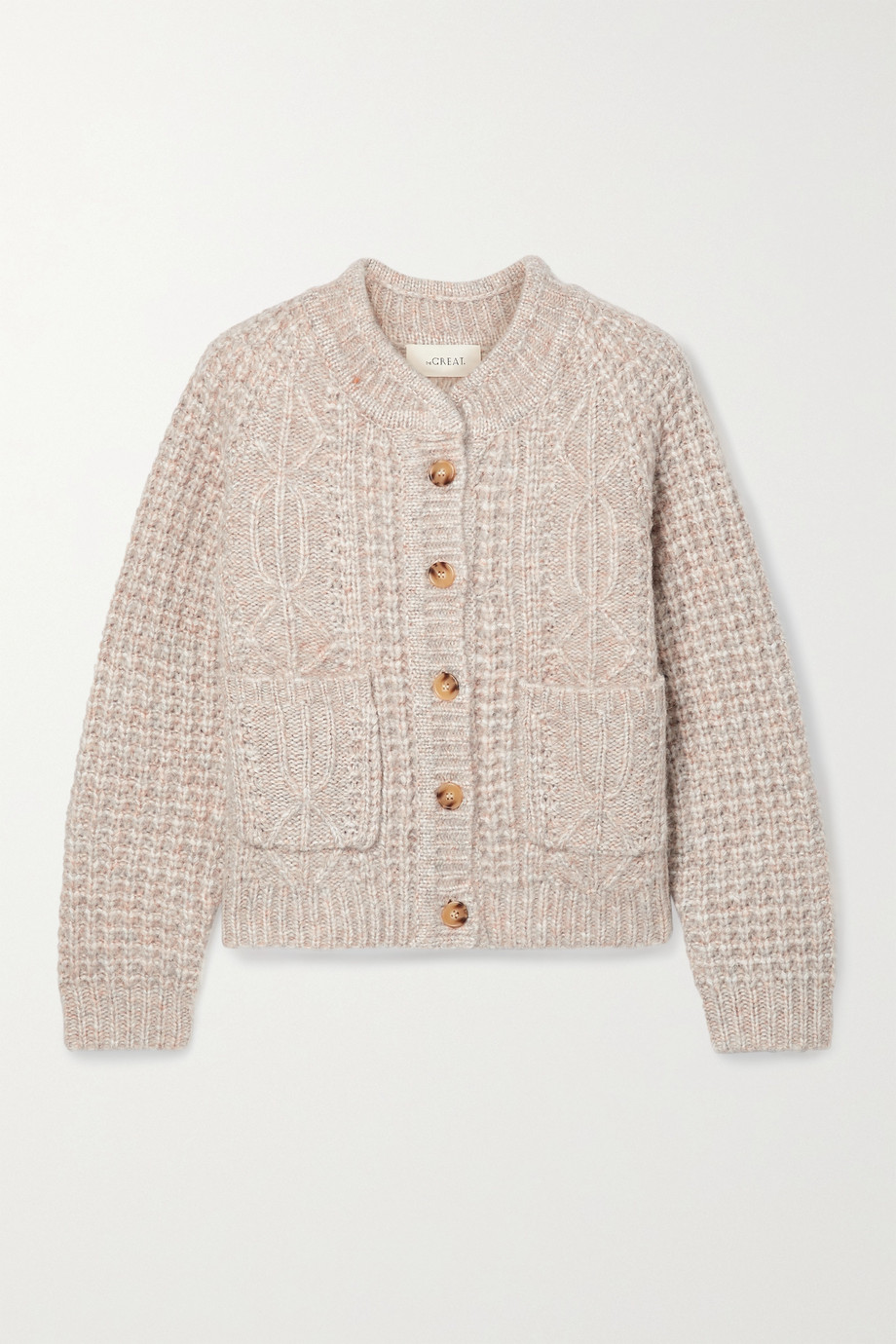 THE GREAT. The Shrunken mélange cable-knit cardigan