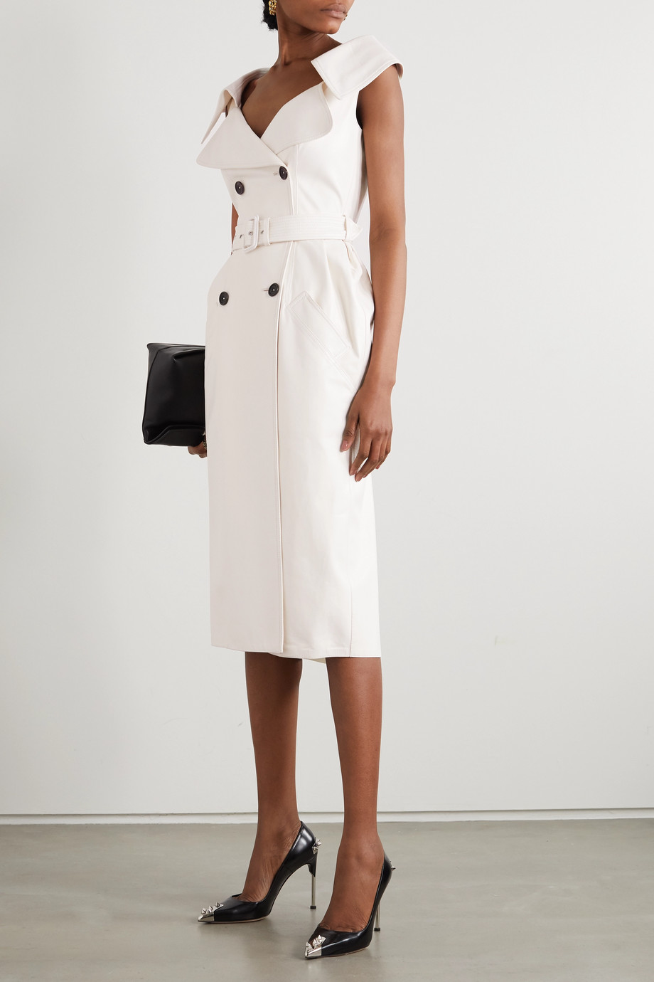 ALEXANDER MCQUEEN Belted double-breasted leather midi dress