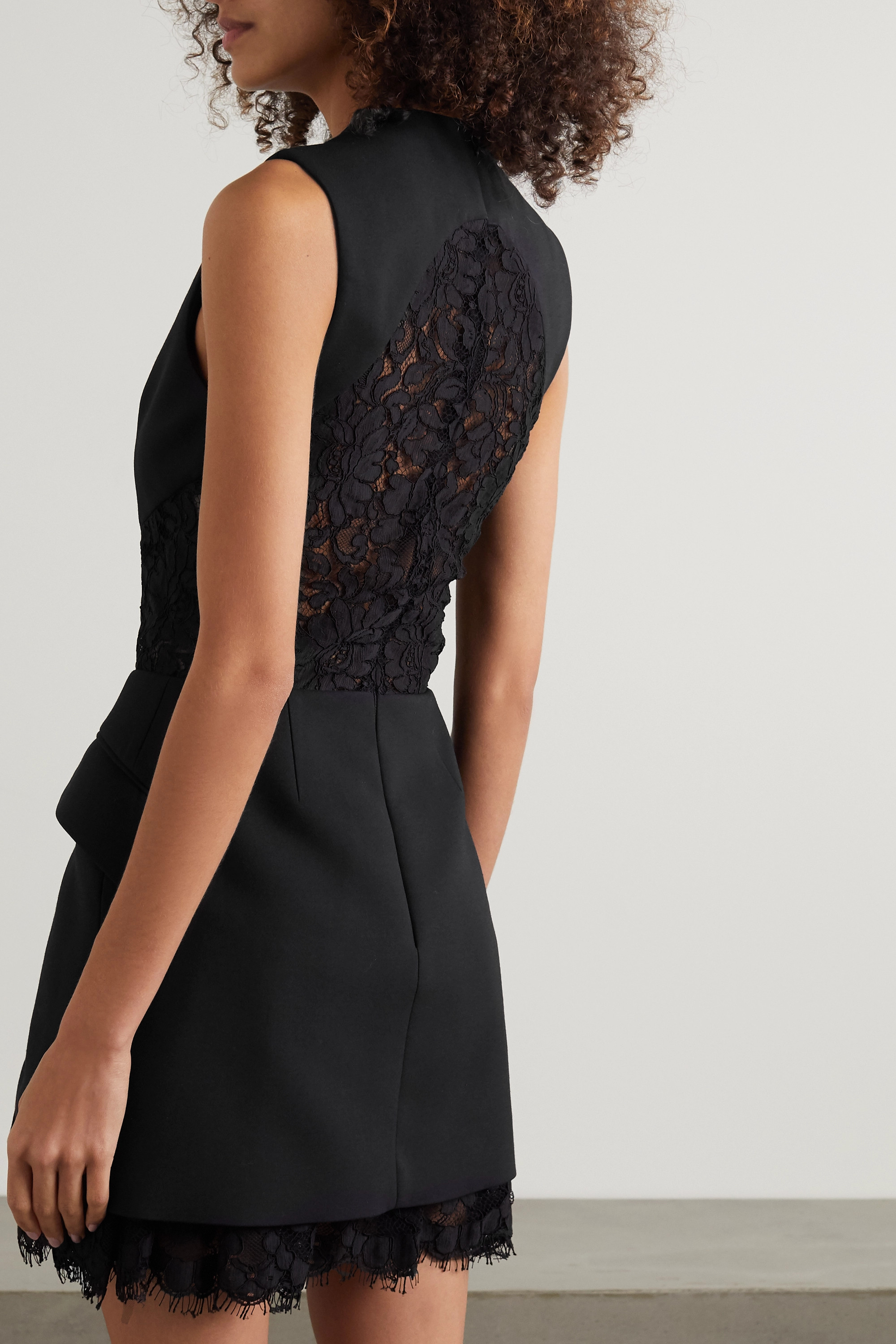 ALEXANDER MCQUEEN Wool-blend crepe and corded lace mini dress