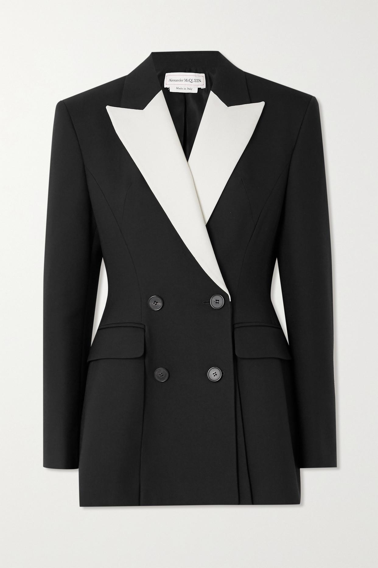 ALEXANDER MCQUEEN - 双排扣双色粒纹羊毛混纺西装外套 - 黑色 - IT42