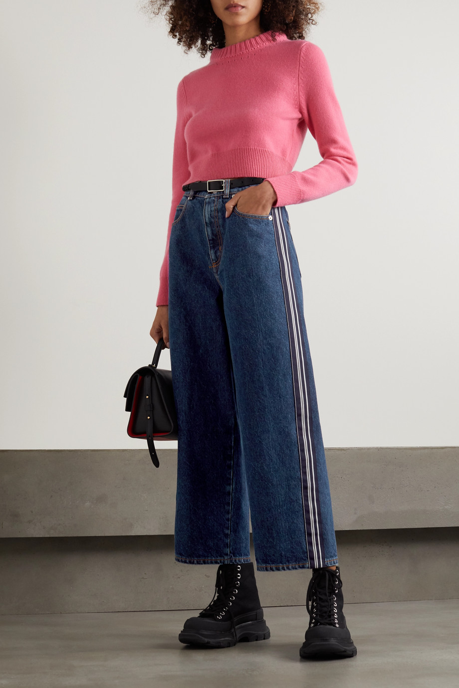ALEXANDER MCQUEEN Striped high-rise wide-leg jeans