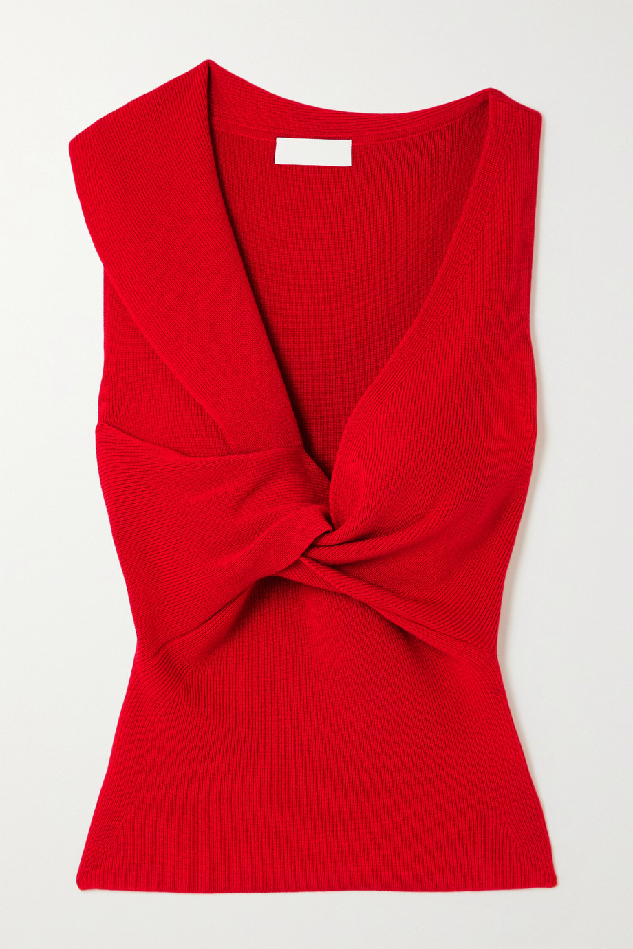 ALEXANDER MCQUEEN Twist-front ribbed wool top