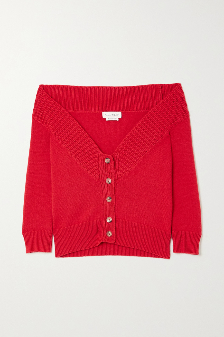 ALEXANDER MCQUEEN Off-the-shoulder cashmere cardigan