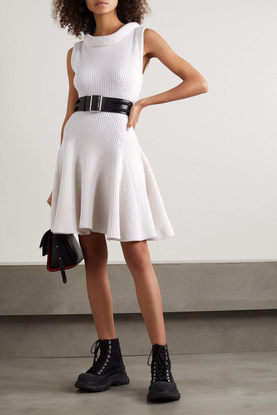 ALEXANDER MCQUEEN Ribbed wool mini dress