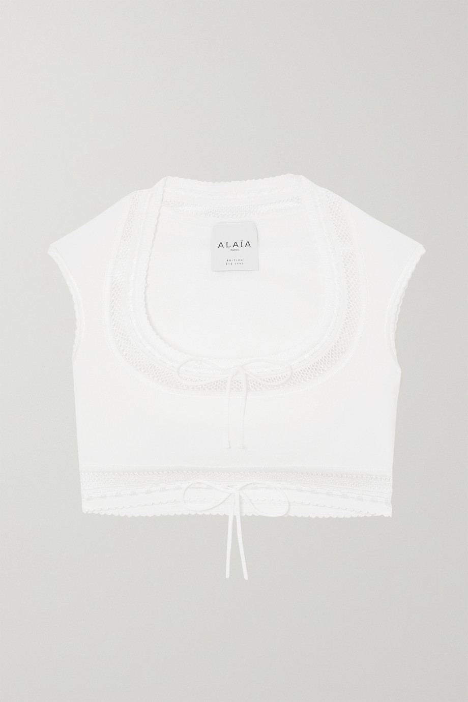 ALAÏA Editions cropped bow-detailed stretch-knit top