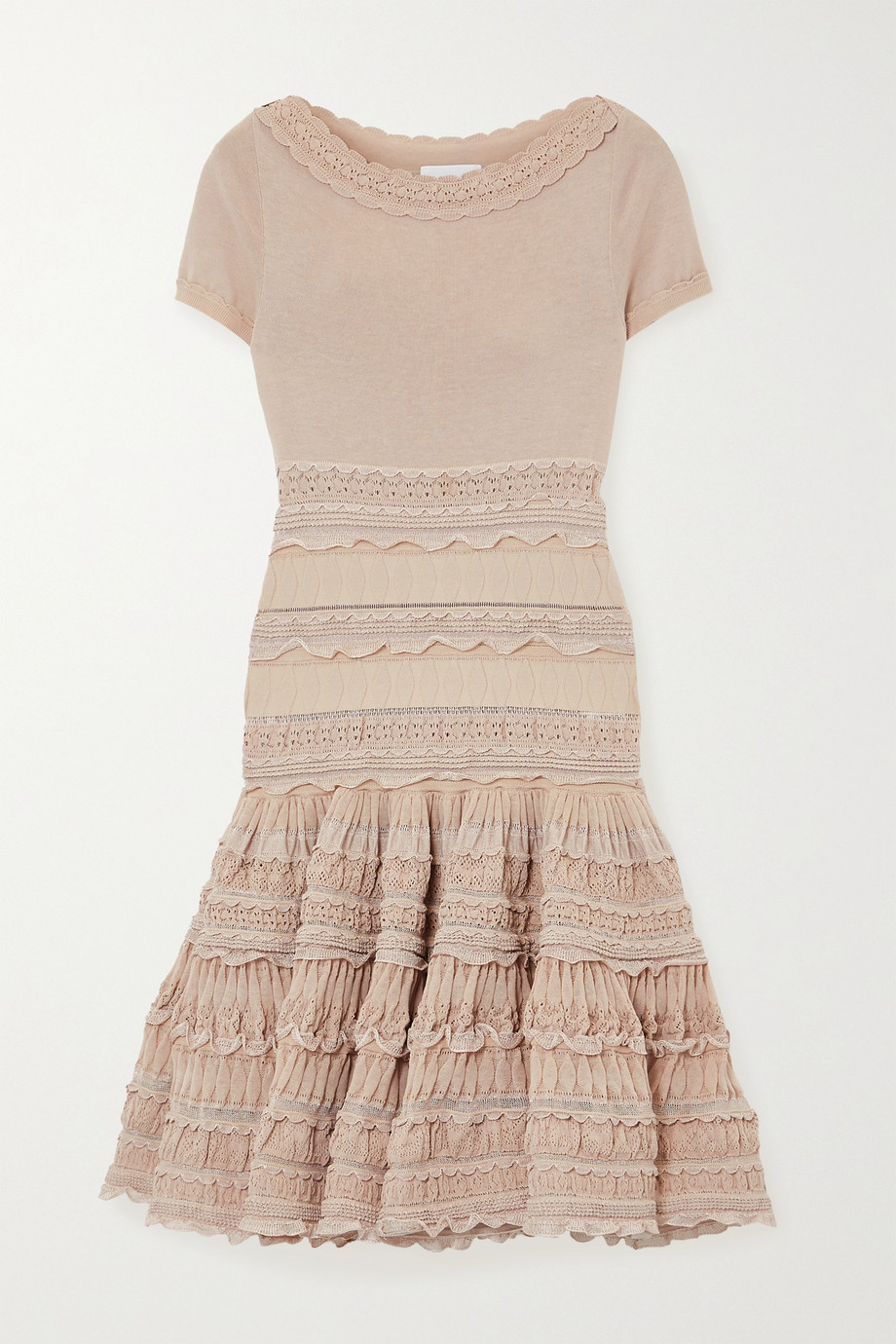 ALAÏA Editions ruffled crocheted cotton-blend mini dress