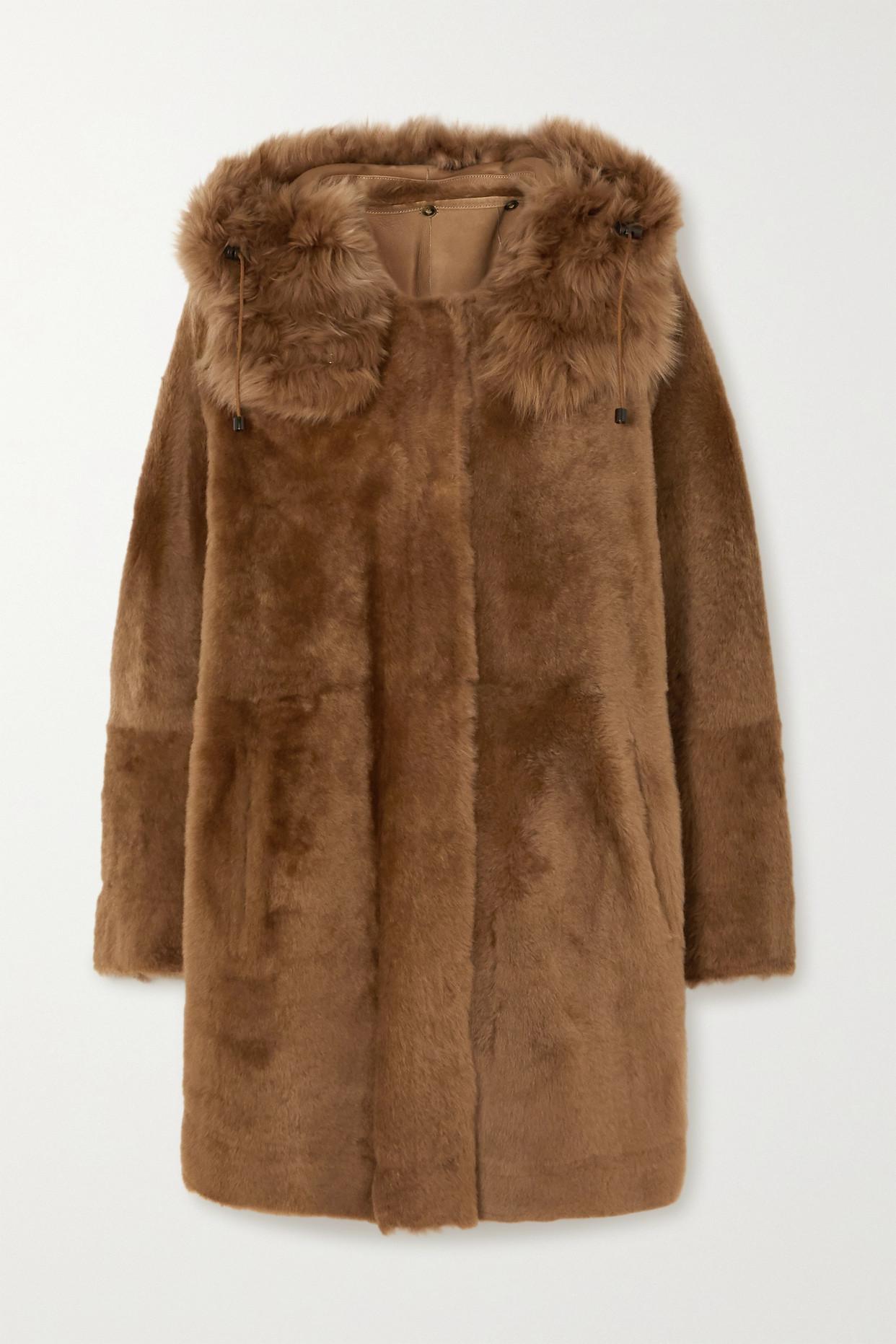 YVES SALOMON - 正反两穿连帽羊毛皮外套 - 棕色 - FR32