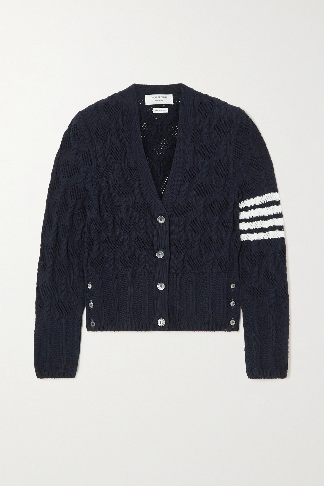THOM BROWNE - Striped Pointelle And Cable-knit Cotton Cardigan - Blue - IT36