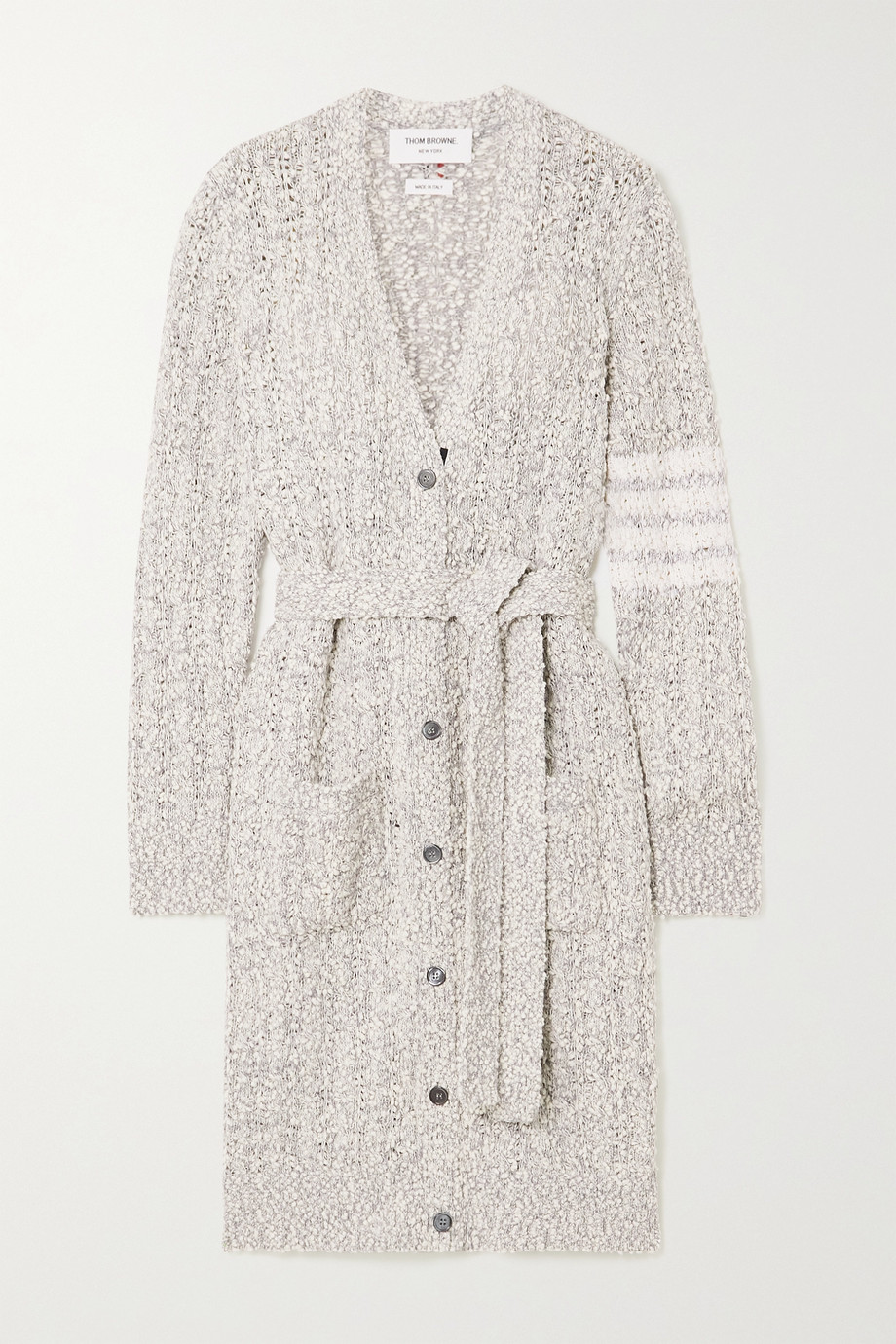 THOM BROWNE Belted cotton-blend bouclé cardigan