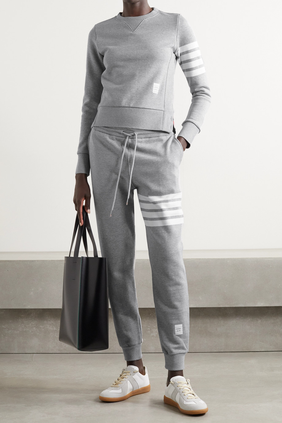 THOM BROWNE Striped mélange cotton-jersey track pants