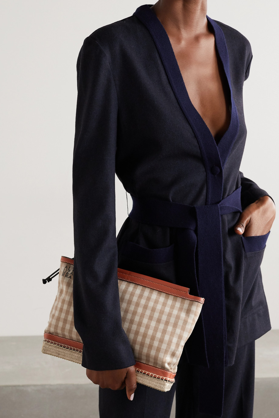 ALTUZARRA Espadrille leather and jute-trimmed gingham twill clutch