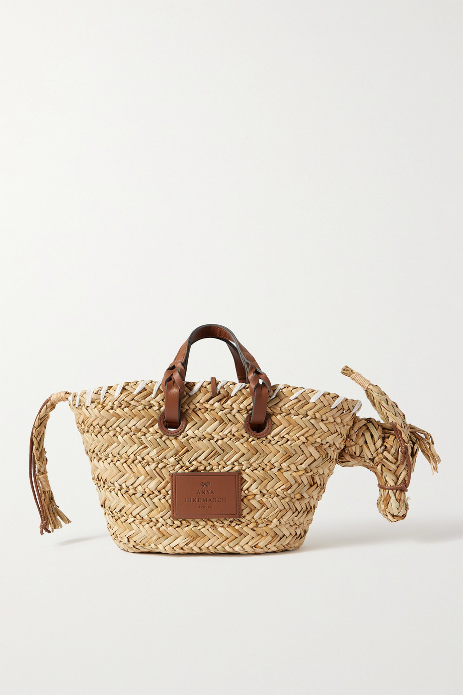 안야 힌드마치 Anya Hindmarch Basket Donkey leather-trimmed woven raffia tote,Beige