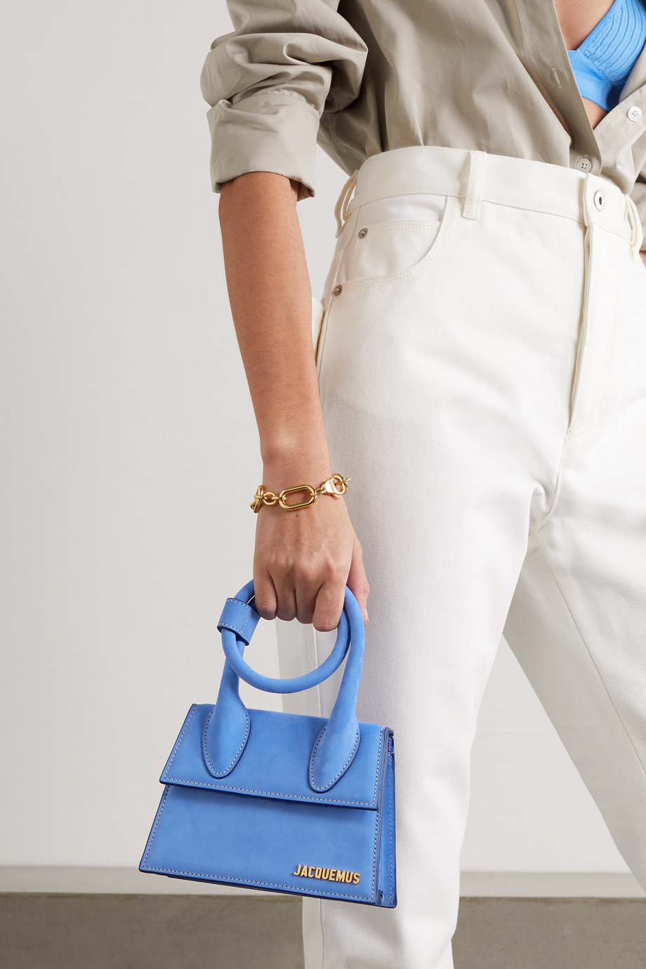 JACQUEMUS Le Chiquito Noeud small nubuck shoulder bag