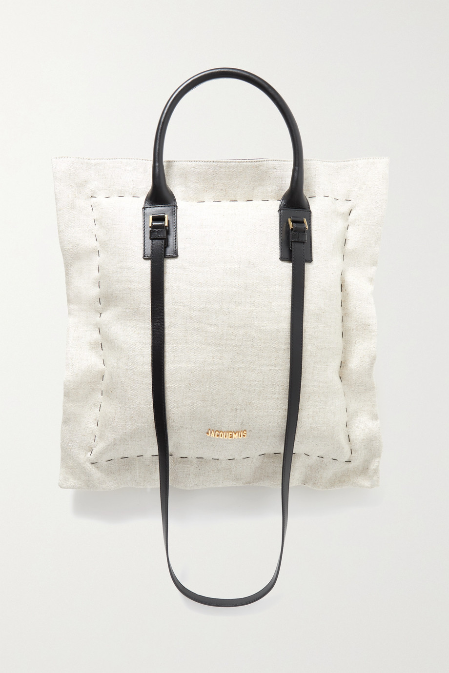 JACQUEMUS Le Coussin leather-trimmed cotton-canvas tote