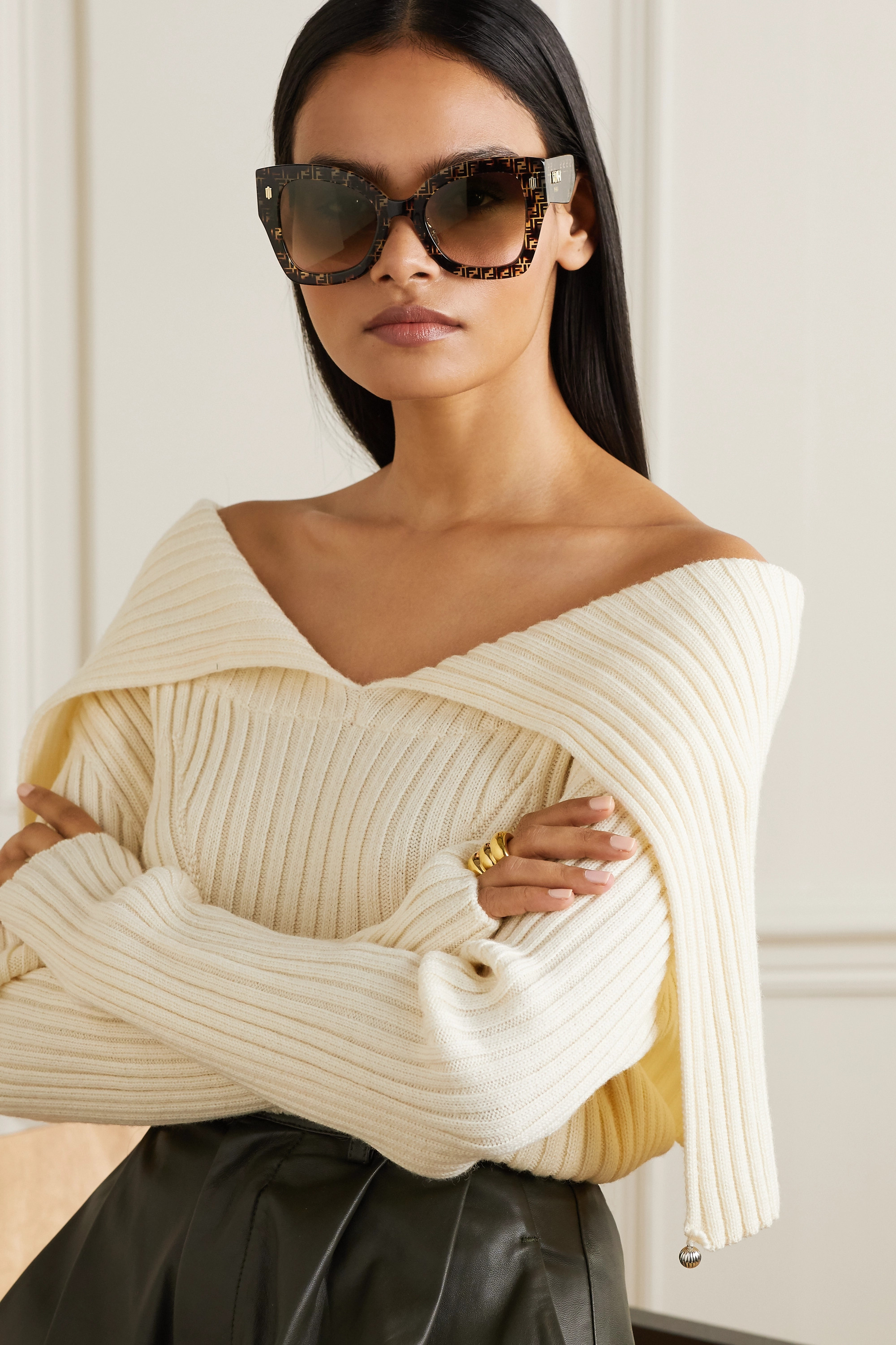 FENDI Oversized square-frame tortoiseshell acetate sunglasses