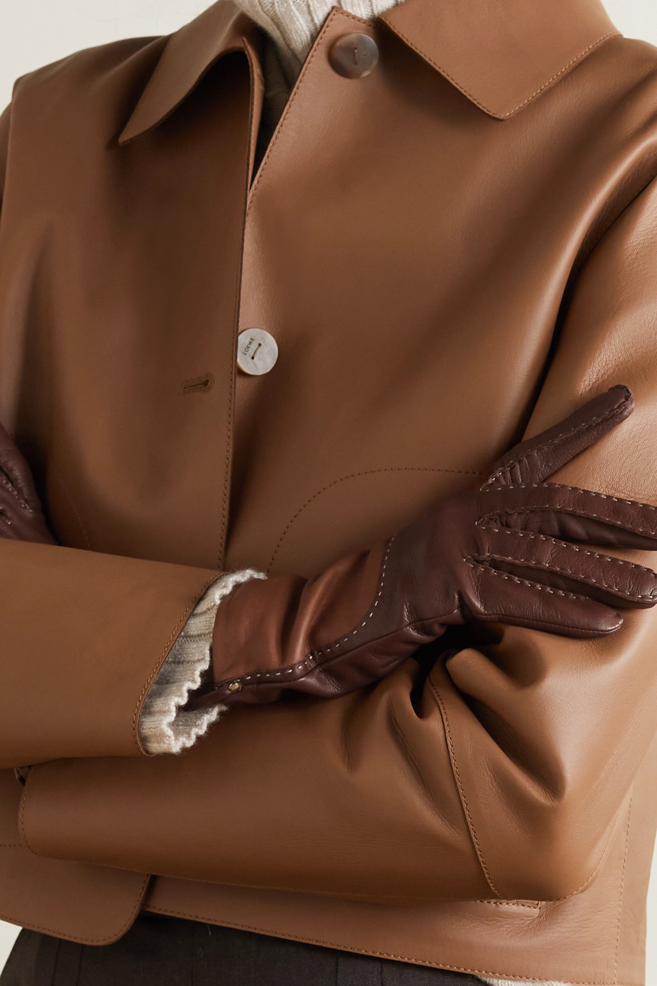 Agnelle Yaelle topstitched two-tone leather gloves