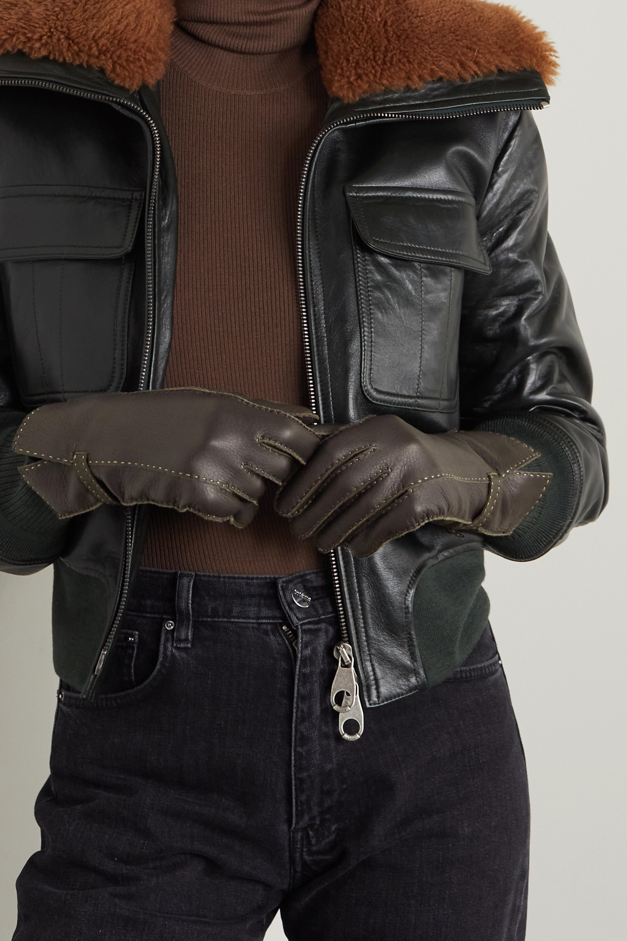 Agnelle Sharil topstitched leather gloves