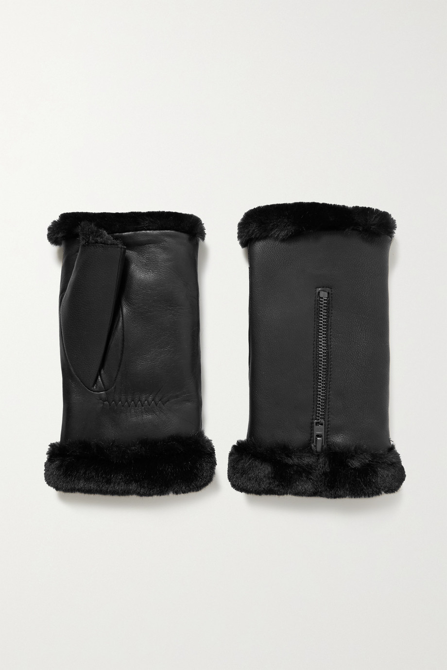 Agnelle Barbara faux fur-lined leather wrist warmers
