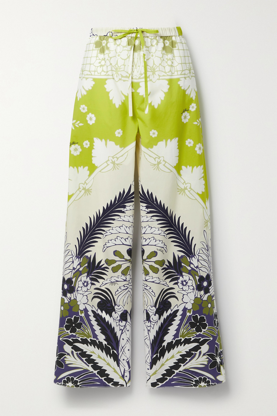 VALENTINO Printed cotton-poplin wide-leg pants